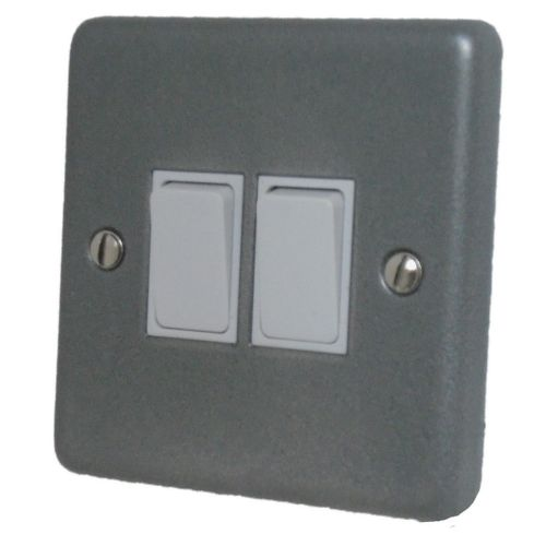 G&H CP2W Standard Plate Pewter 2 Gang 1 or 2 Way Rocker Light Switch